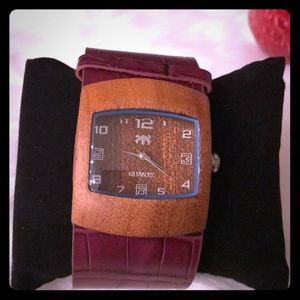 Accessories - Wooden watch with purple leather strap *SALE*